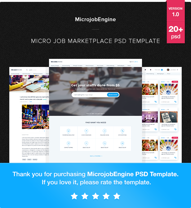 MicrojobEngine - Micro Job Marketplace PSD Template